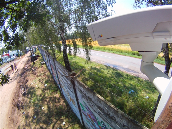Ukázka instalované termovizní kamery a pohledu na hlídaný perimetr.